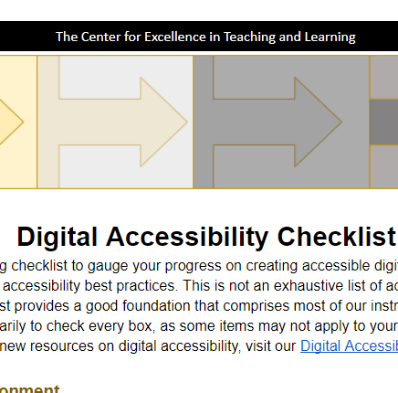 Screenshot of the Digital Accessibility Checklist linked here